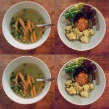 Borsóleves, kölesfasírt petrezselymes krumplival (az első kerti terményekből)