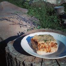 Összesütve a Szójás-padlizsános ragu kurkumás rizzsel ésmagtejföllel